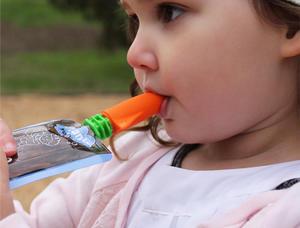 Cherub Baby Silikon pip till matpåsar - orange/rosa